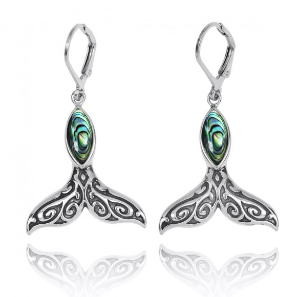 [NEA3323-ABL] Sterling Silver Whale Tale with Abalon shell Lever Back Earrings