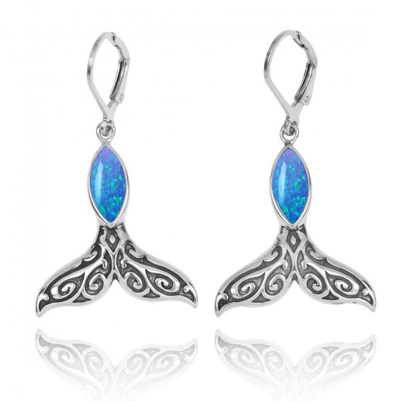 [NEA3323-BLOP] Sterling Silver Whale Tale with Simulated Blue Opal Lever Back Earrings