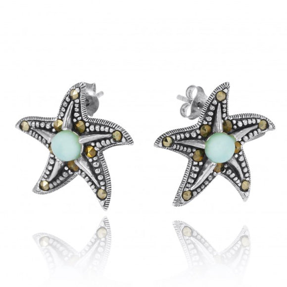 [NES3011-LAR-MRC] Starfish Stud Earrings with Larimar and Marcasite
