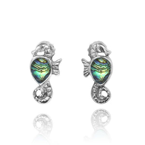 [NES3698-ABL] Sterling Silver Seahorse Stud Earrings with Pear Shape Abalon shell