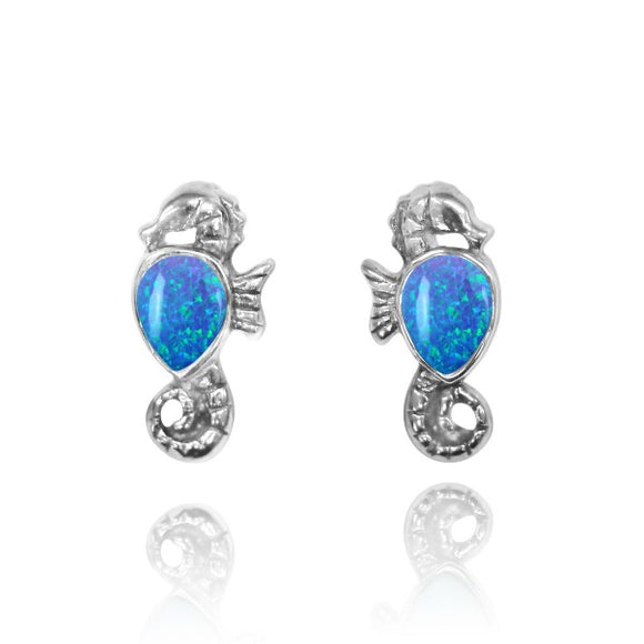 [NES3698-BLOP] Sterling Silver Seahorse Stud Earrings with Pear Shape Simulated Blue Opal