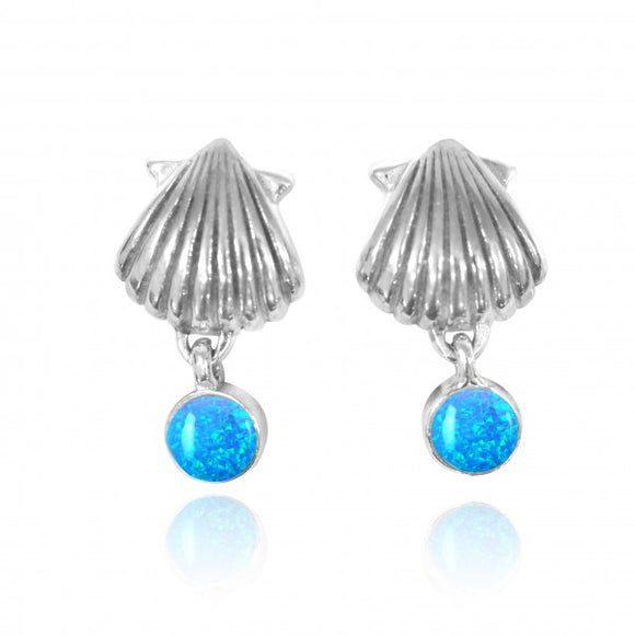 [NES3699-BLOP] Sterling Silver Seashell Stud Earrings with Dangling Round Simulated Blue Opal