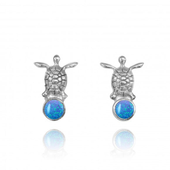[NES3700-BLOP] Sterling Silver Turtle Stud Earrings with Round Simulated Blue Opal