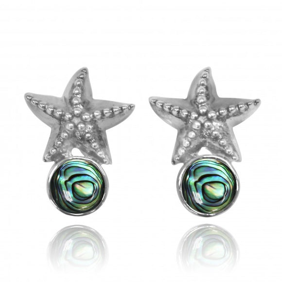 [NES3704-ABL] Sterling Silver Starfish Stud Earrings with Round Abalon shell