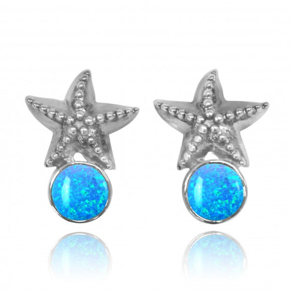 [NES3704-BLOP] Sterling Silver Starfish Stud Earrings with Round Simulated Blue Opal