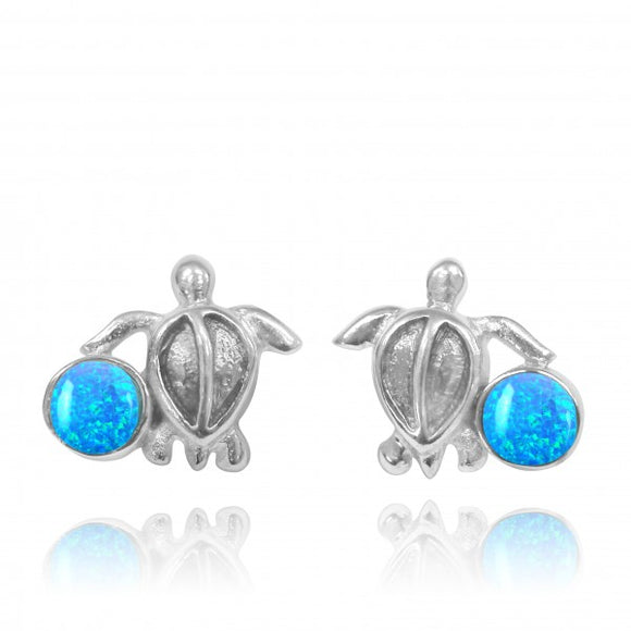 [NES3705-BLOP] Sterling Silver Turtle Stud Earrings with Round Simulated Blue Opal