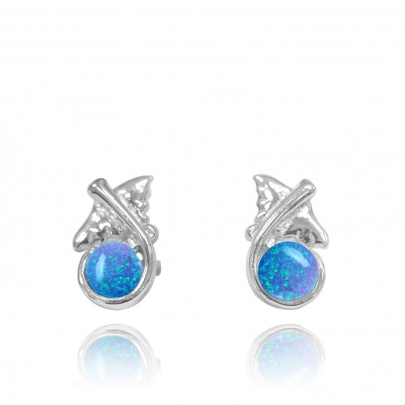 [NES3711-BLOP] Sterling Silver Manta Ray Stud Earrings with Round Simulated Blue Opal