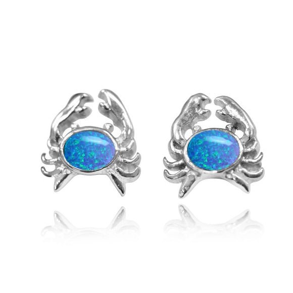 [NES3713-BLOP] Sterling Silver Crab Stud Earrings with Oval Simulated Blue opal