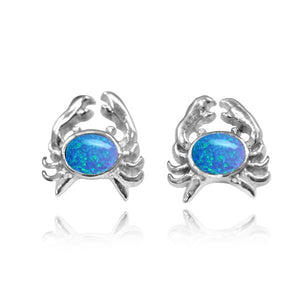 [NES3718-BLOP-WHT] Sterling Silver Crab Stud Earrings with Round Simulated Blue Opal and White Topaz