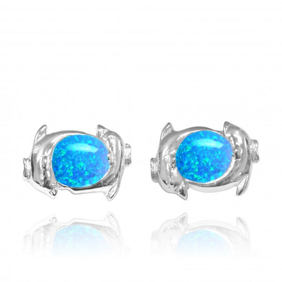 [NES3716-BLOP] Sterling Silver Twin Dolphin Stud Earrings with Simulated Blue Opal