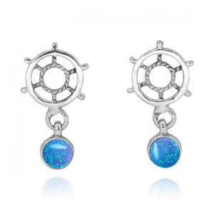 [NES3724-BLOP] Sterling Silver Ship's Wheel Stud Earrings with Round Simulated Blue opal