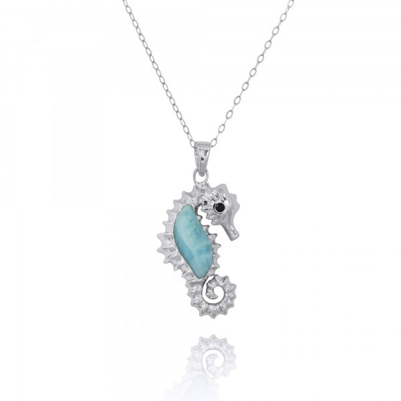 [NP10125-LAR-BKSP] Sterling Silver Seahorse Pendant with Larimar and Black Spinel