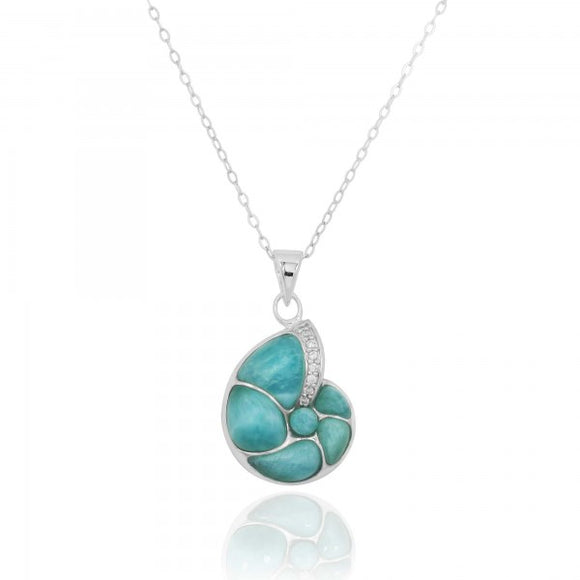 [NP10447-LAR-WHCZ] Sterling Silver Seashell Pendant with Larimar and White CZ