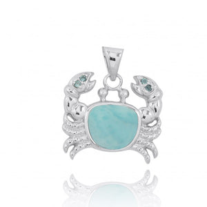 [NP10742-LAR-LBLT] Sterling Silver Crab Pendant with Larimar and London Blue Topaz