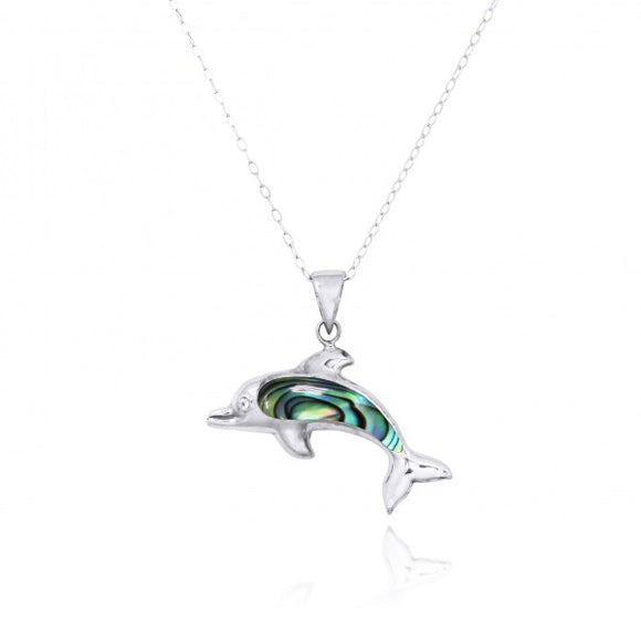 [NP10743-ABL] Sterling Silver Dolphin with Abalon shell Pendant