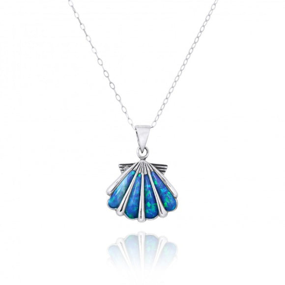 [NP10744-BLOP] Seashell with Simulated Blue Opal Sterling Silver Pendant