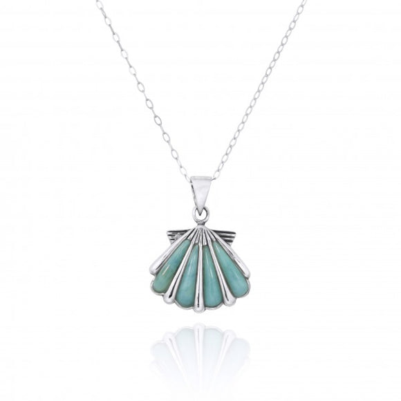 [NP10744-LAR] Seashell with Larimar Sterling Silver Pendant