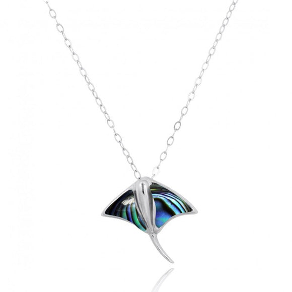 [NP10917-ABL] Sterling Silver Stingray Pendant with Abalon shell