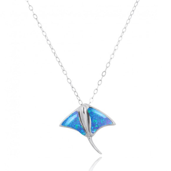 [NP10917-BLOP] Sterling Silver Stingray Pendant with Simulated Blue Opal