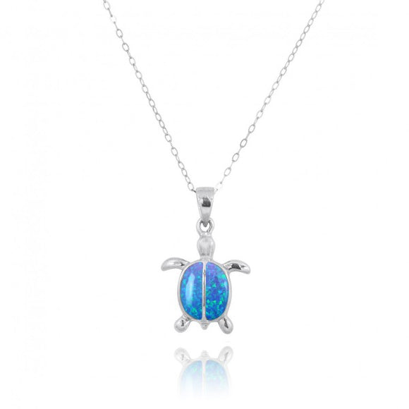 [NP10918-BLOP] Sterling Silver Turtle with 2 Simulated Blue Opal Stones Pendant