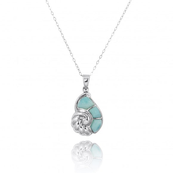 [NP10920-LAR-WHCZ] Sterling Silver Seashell with Larimar and White CZ Pendant