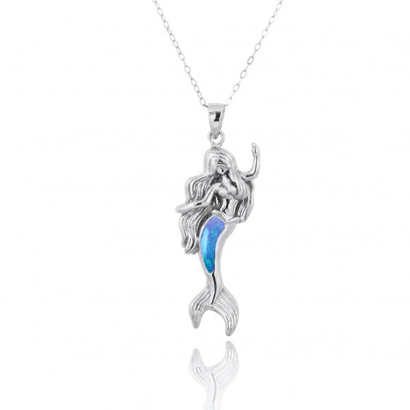 [NP10922-BLOP] Sterling Silver Mermaid Pendant with Simulated Blue Opal