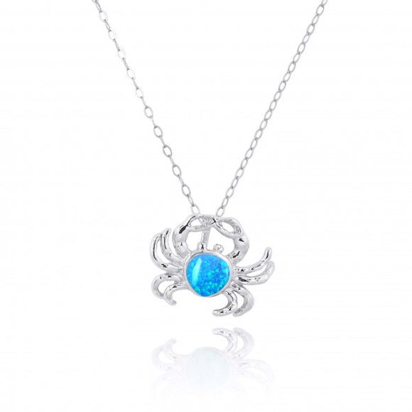 [NP10923-BLOP] Sterling Silver Crab Pendant with Simulated Blue Opal