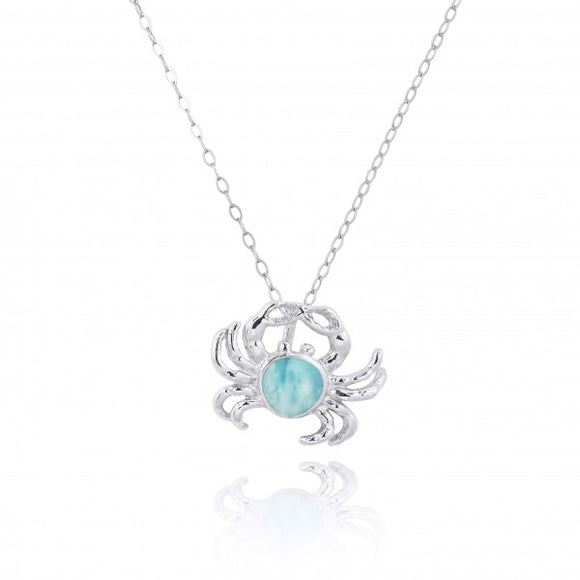 [NP10923-LAR] Sterling Silver Crab Pendant with Larimar