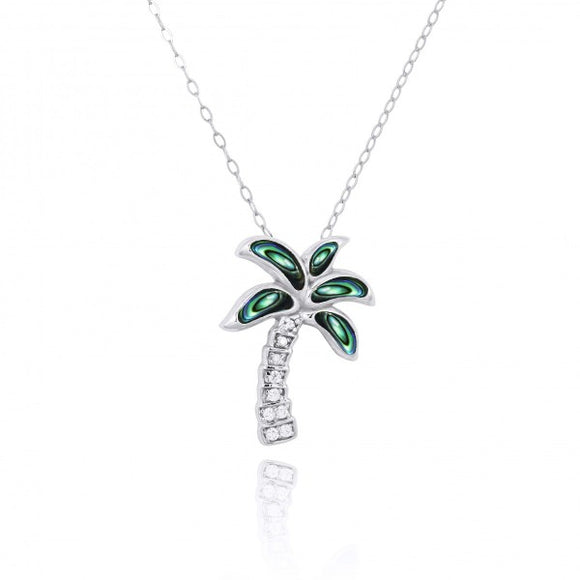 [NP10925-ABL-WHCZ] Sterling Silver Palm Tree with Abalon and CZ Pendant