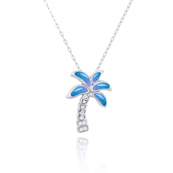 [NP10925-BLOP-WHCZ] Sterling Silver Palm Tree with Simulated Blue opal and CZ Pendant