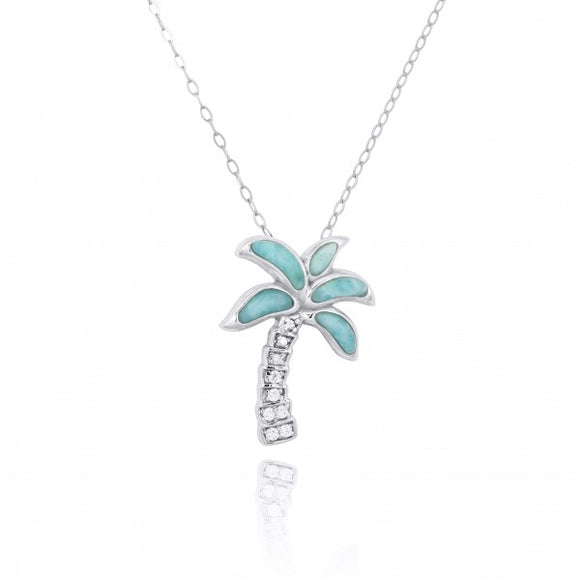 [NP10925-LAR-WHCZ] Sterling Silver Palm Tree with Larimar and CZ Pendant