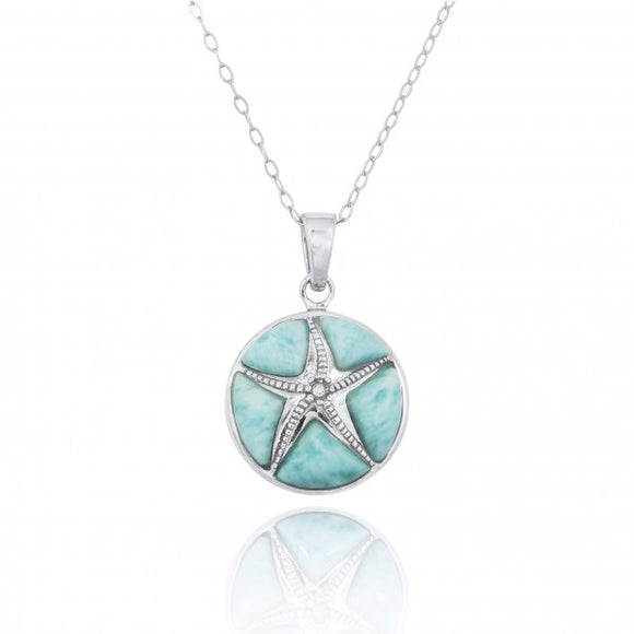 [NP11009-LAR-CRS] Sterling Silver Starfish with Crystal and Larimar Pendant