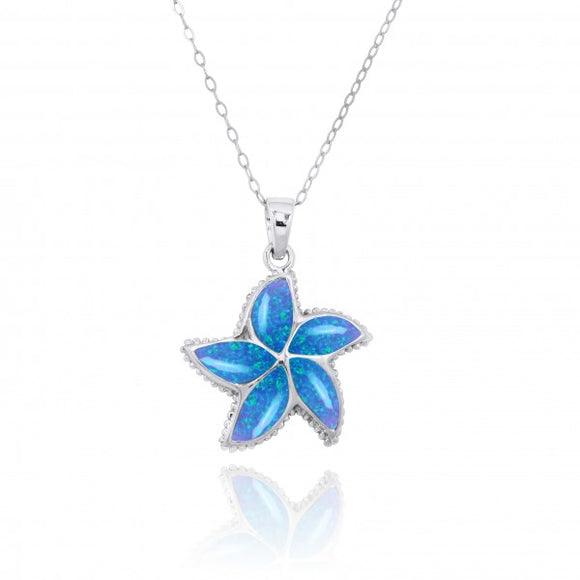 [NP11010-BLOP] Sterling Silver Starfish with Simulated Blue Opal Pendant