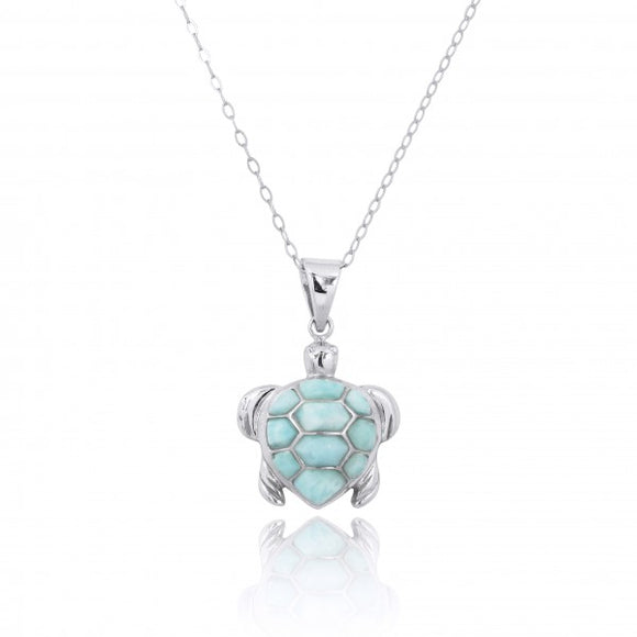 [NP11022-LAR] Sterling Silver Turtle with Larimar Pendant
