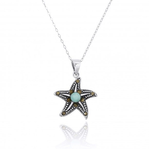 [NP11023-LAR-MRC] Sterling Silver Starfish Pendant with Marcasite and Round Larimar