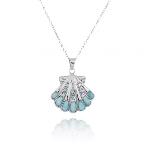 [NP11305-LAR-SWBLT] Sterling Silver Seashell with Swiss Blue Topaz Larimar Pendant
