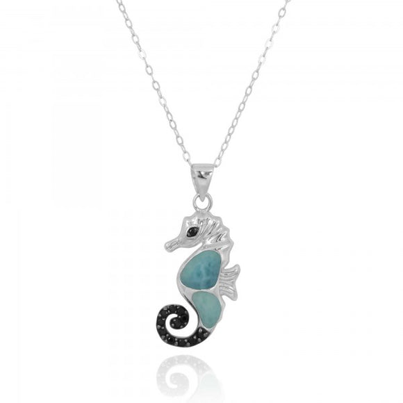 [NP11309-LAR-BKSP] Sea Horse Pendant with Larimar and Black Spinel