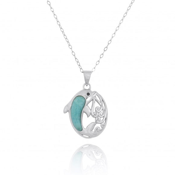 [NP11314-LAR-BKSP] Sterling Silver Dolphin Pendant with Larimar