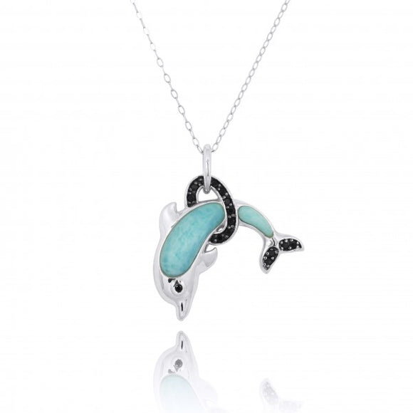 [NP11315-LAR-BKSP] Sterling Silver Dolphin Pendant with Larimar and Black Spinel
