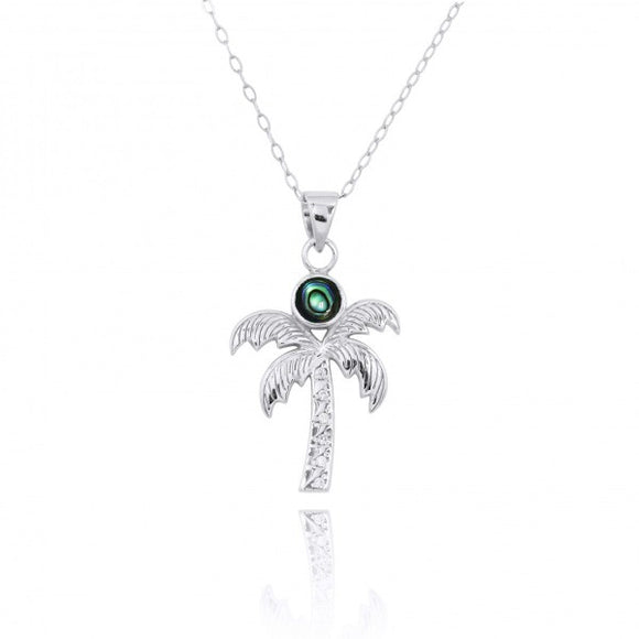 [NP11316-ABL-WHCZ] Sterling Silver Palm Tree Pendant with Abalon and White Topaz