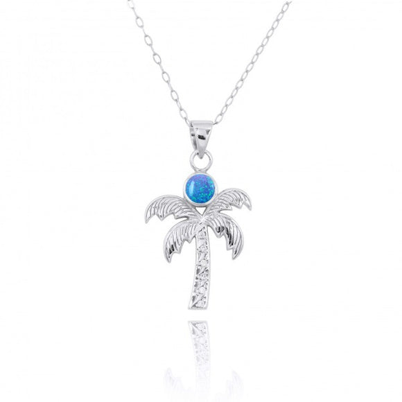 [NP11316-BLOP-WHCZ] Sterling Silver Palm Tree Pendant with Simulated Blue opal and White Topaz