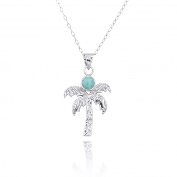 [NP11316-LAR-WHT] Sterling Silver Palm Tree Pendant with Larimar and White Topaz