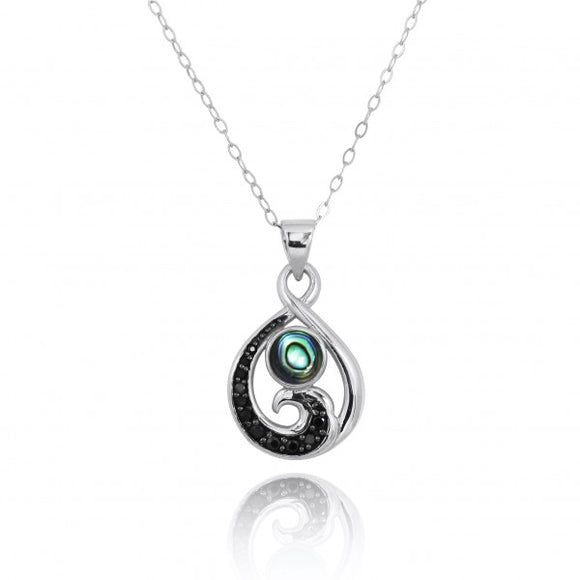 [NP11318-ABL-BKSP] Sterling Silver Pendant with Black Spinel Wave and Round Abalon