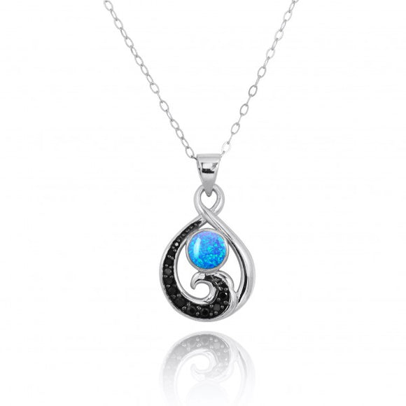 [NP11318-BLOP-BKSP] Sterling Silver Pendant with Black Spinel Wave and Round Simulated Blue opal