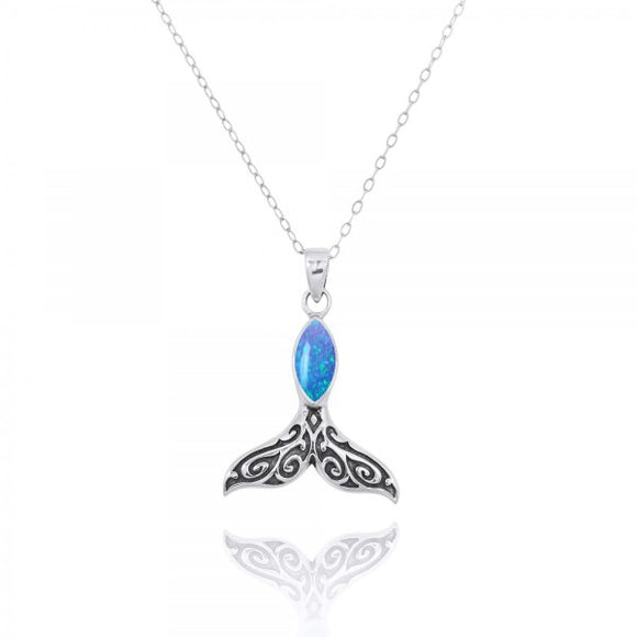[NP11319-BLOP] Sterling Silver Whale Tail Penant with Simulated Blue Opal