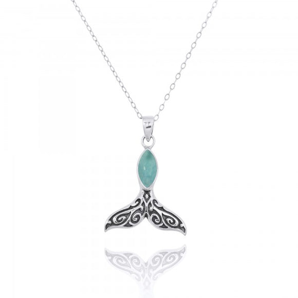 [NP11319-LAR] Sterling Silver Whale Tail Pendant with Marquise Larimar