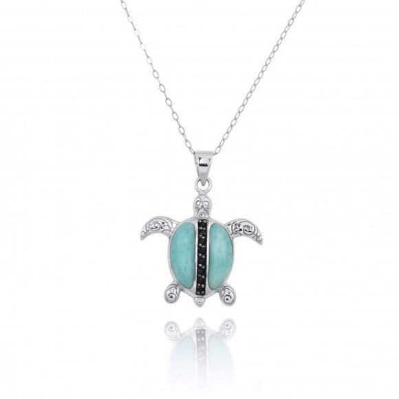 [NP11325-LAR-BKSP] Sterling Silver Turtle Pendant with Larimar and Black Spinel