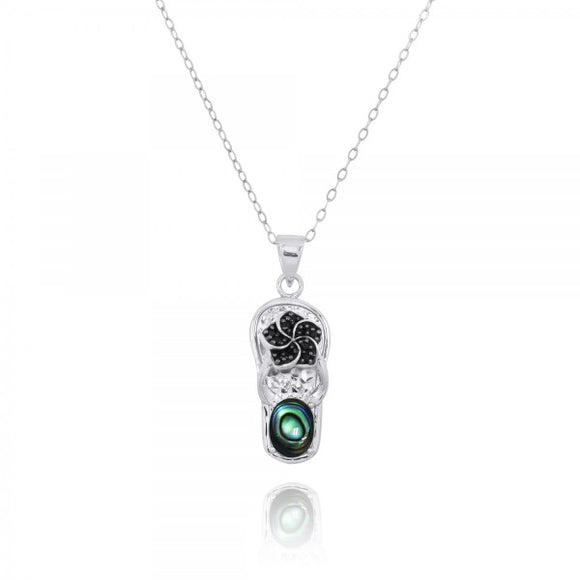 [NP11326-ABL] Sterling Silver Sandal Pendant with Black Spinel Hibiscus and Round Abalon