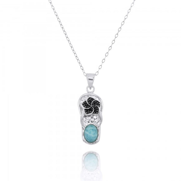 [NP11326-LAR-BKSP] Sterling Silver Sandal Pendant with Black Spinel Hibiscus and Round Larimar