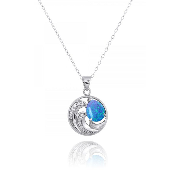 [NP11327-BLOP] Sterling Silver Wave Pendants with Simulated Blue opal and White CZ
